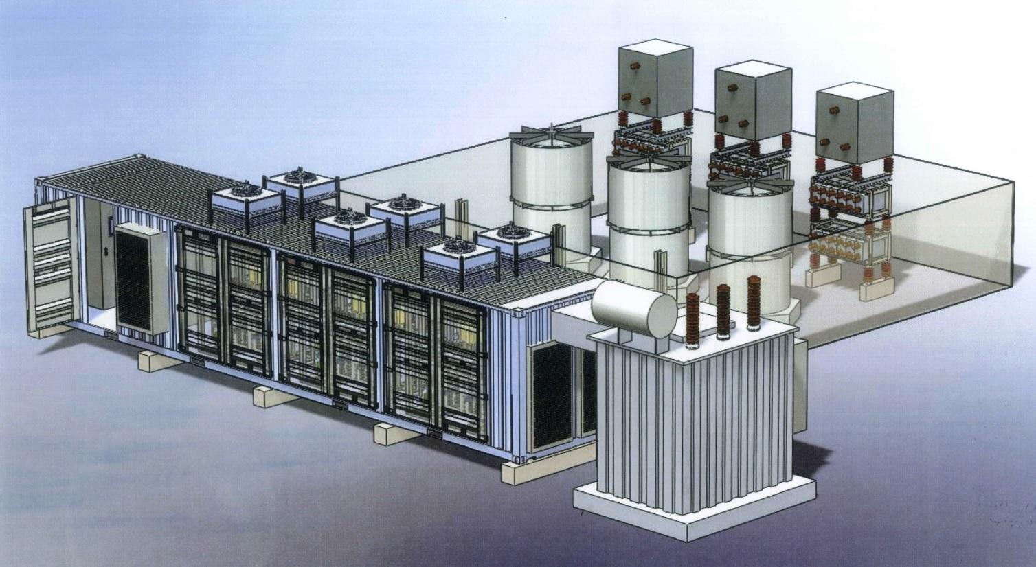 STATCOM állomás 5.4MVAr elektronikus és 4.5MVAr passzív elemmel induktív és kapacitav kompenzálásra